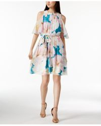 Calvin Klein Blue Petites Cold Shoulder Floral Print Party Dress