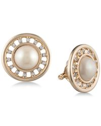 Carolee - White Gold-tone Imitation Pearl & Pavé Halo Clip-on Earrings - Lyst