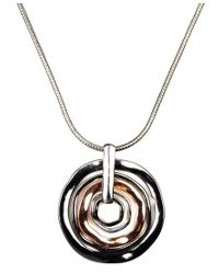 Nine West | Metallic Necklace, Tri Tone Orbital Pendant | Lyst