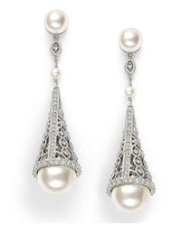 Danori | Metallic Earrings, Simulated Pearl And Pave Crystal Cone Drop Earrings | Lyst