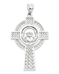 Macy's | Metallic 14k White Gold Charm, Celtic Claddagh Cross Charm | Lyst