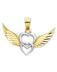 Macy's   Metallic 14k Gold And Sterling Silver Charm, Heart With Wings Charm   Lyst