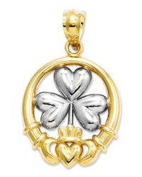 Macy's   Metallic 14k Gold And Sterling Silver Charm, Claddagh And Shamrock Charm   Lyst