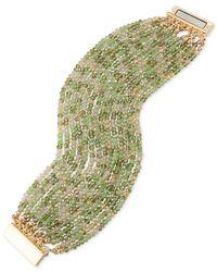ABS By Allen Schwartz - Metallic Gold-tone Green & Clear Beaded Stretch Bracelet - Lyst