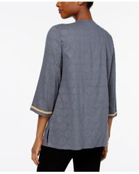 Charter Club Multicolor Cotton Embellished Tunic