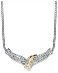Macy's | Multicolor Diamond Twist Necklace In Sterling Silver And Gold (1/2 Ct. T.w.) | Lyst