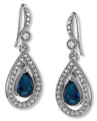 Carolee   Blue Earrings, Silver-tone Pave Stone Drop Earrings   Lyst