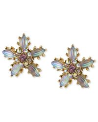 Betsey Johnson Metallic Antique Gold-tone Crystal Flower Stud Earrings