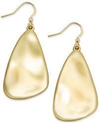 INC International Concepts Metallic Silver-tone Shell Drop Earrings