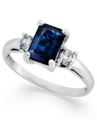 Macy's | Blue 14k White Gold Ring, Sapphire (1-1/10 Ct. T.w.) And Diamond (1/5 Ct. T.w.) 3-stone Ring | Lyst