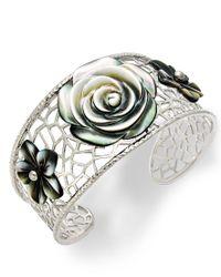 Macy's   Metallic Cultured Tahitian Mother Of Pearl Flower Cuff Bracelet In Sterling Silver   Lyst
