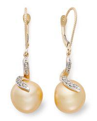 Macy's - Metallic 14k Gold Earrings, Cultured Golden South Sea Pearl (11mm) And Diamond (1/8 Ct. T.w.) Earrings - Lyst