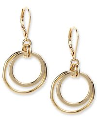 Anne Klein - Metallic Earrings, Gold-tone Orbital Fish Hook Earrings - Lyst