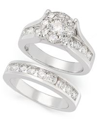 Macy's | Metallic Seven-row Diamond Ring In 10k Yellow Or White Gold (1/5 Ct. T.w.) | Lyst
