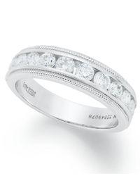 Macy's   Metallic Diamond Ring, 14k White Gold Certified Diamond Milgrain Anniversary Band (1 Ct. T.w.)   Lyst