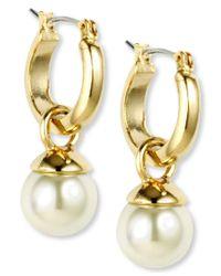 Anne Klein   Metallic Gold-tone Imitation Pearl Drop Off Hoop Earrings   Lyst