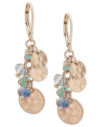 Lonna & Lilly - Multicolor Gold-tone Shaky Disc & Bead Drop Earrings - Lyst