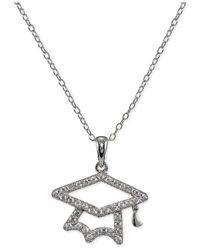 Giani Bernini - Metallic Cubic Zirconia Pavé Graduation Pendant Necklace In Sterling Silver - Lyst