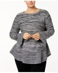 Style & Co. - Gray Plus Size Marled Ruffled Sweater - Lyst