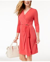 Charter Club Pink Faux-wrap Dress