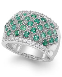 Macy's Green Emerald (1-1/6 Ct. T.w.) And White Sapphire (7/8 Ct. T.w.) Ring In Sterling Silver
