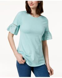 Charter Club Blue Ruffled Eyelet-sleeve Top, Created For Macy's