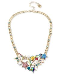 Betsey Johnson - Metallic Gold-tone Multi-stone & Imitation Pearl Star Statement Necklace - Lyst