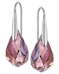 Swarovski - Metallic Silver-tone Lilac Crystal Drop Earrings - Lyst