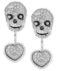 Betsey Johnson - Metallic Silver-tone Pavé Skull And Heart Front-back Earrings - Lyst