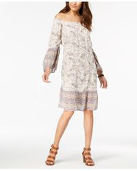 Style & Co. Natural Printed Off-the-shoulder Dress, Created For Macy's