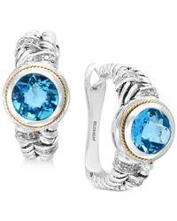Effy Collection Metallic Blue Topaz (4-1/3 Ct. T.w.) & Diamond (1/6 Ct. T.w.) Hoop Earrings In Sterling Silver & 18k Gold