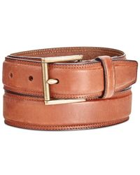 Cole Haan - Brown Men's Stitched Leather Belt for Men - Lyst
