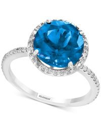 Effy Collection Metallic Blue Topaz (4-1/8 Ct. T.w.) & Diamond (1/4 Ct. T.w.) Ring In Sterling Silver