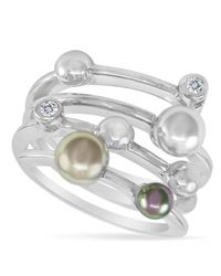 Majorica - White Endless Pearl Ring, Sterling Silver Multicolor Organic Man Made Pearl Ring - Lyst