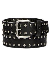 BOSS Black Studded Leather Belt
