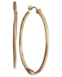 """Nine West - Metallic Earrings, Gold-tone 1-1/2"""" Medium Hoop Earrings - Lyst"""