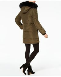 Kenneth Cole - Black Faux Faux-leopard-lined Hooded Puffer Coat - Lyst