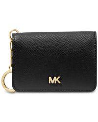 MICHAEL Michael Kors Black Leather Key Ring Card Holder