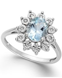 Macy's - Blue Aquamarine (1 Ct. T.w.) And Diamond Accent Ring In 14k White Gold - Lyst
