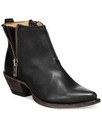 Frye Black Sacha Side Zip Moto Leather Booties