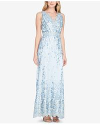 Tahari - Blue Embroidered Gown - Lyst
