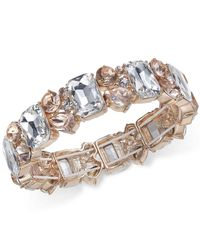 Charter Club - Metallic Gold-tone Clear & Pink Crystal Stretch Bracelet - Lyst