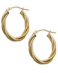 Macy's - Metallic 14k Gold Earrings, Textured Oval Braided Hoop Earrings - Lyst
