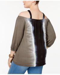 INC International Concepts - Black Plus Size Embellished Cold-shoulder Top - Lyst