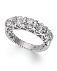 Macy's | Gray Certified Five-stone Diamond Ring In 14k White Gold (2 Ct. T.w.) | Lyst