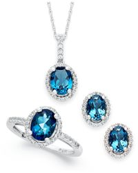Macy's | London Blue Topaz (1-3/8 Ct. T.w.) And Diamond (1/8 Ct. T.w.) Ring In 14k White Gold | Lyst