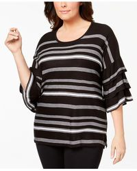 CALVIN KLEIN 205W39NYC - Black Plus Size Ruffle-sleeve Striped Sweater - Lyst