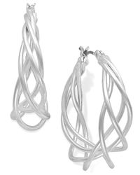 Charter Club | Metallic Silver-tone Spiral Drop Earrings | Lyst