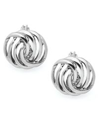 Charter Club - Metallic Silver-tone Openwork Button Earrings - Lyst