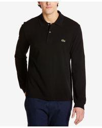 Lacoste | Black Men's Long Sleeve Pique Polo for Men | Lyst